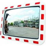 Rectangular traffic mirror, red/white