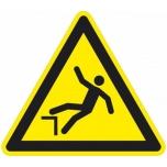 Caution sign: fall hazard