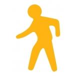 """Põrandakleebis """"Jalakäija"""", 540x345mm, kollane"""