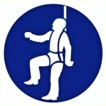 Mandatory sign: Safety harness must be worn