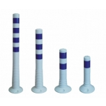Flexible Delineators white with blue stripes