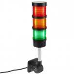 Industrial signaling tower lamp. Warning traffic light with red orange green LED lights 12 VDC