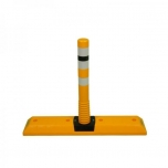 Parkng curb with flexible post 1000x200x765mm, 3x reflector tape, Yellow