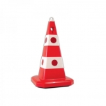 Traffic cone with hole with integral threaded socket