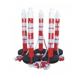 """MegaMax Chain Post Set (6 red posts and 25 m chain """"Pollux""""  red - white"""